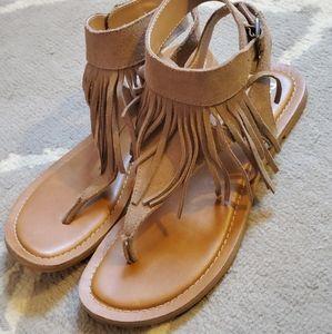 Restricted Suede Leather Fringe Sandal size 7